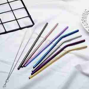 Stainless steel drinking straight curved straw