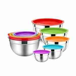 Large heavy duty stainless steel mixing bowls Stackable set