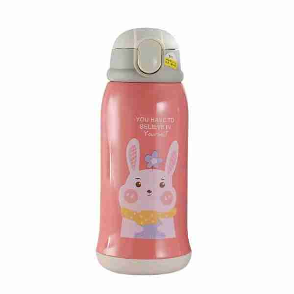 Stainless steel insulated water bottle with straw kids thermos flask