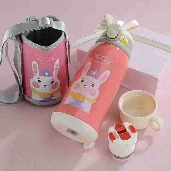 Stainless steel insulated water bottle with straw kids thermos