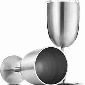18/8 Stainless Steel Wine Glasses 12 Oz. Double-Walled Insulated Tumbler