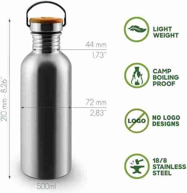 Stainless steel Lightweight Water Bottle Single Wall 05