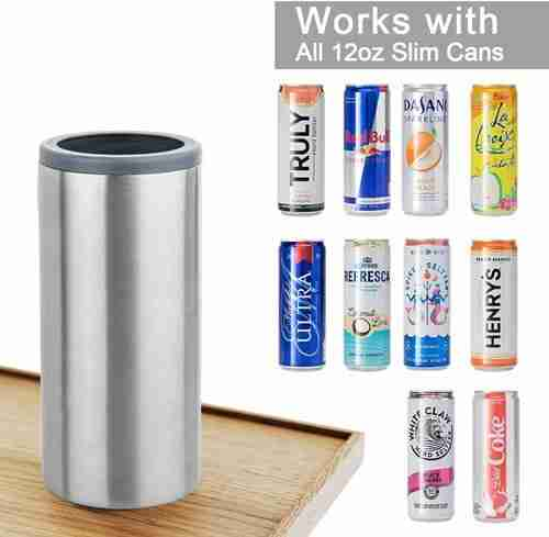Hopsulator Slim Double wall Stainless Steel Insulated Can Cooler for 12oz slim can koozie