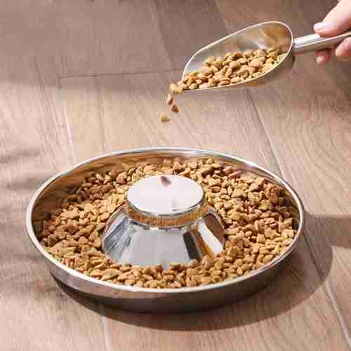 01 Slow Feed Pet Bowl Stainless Steel Dog Bowl