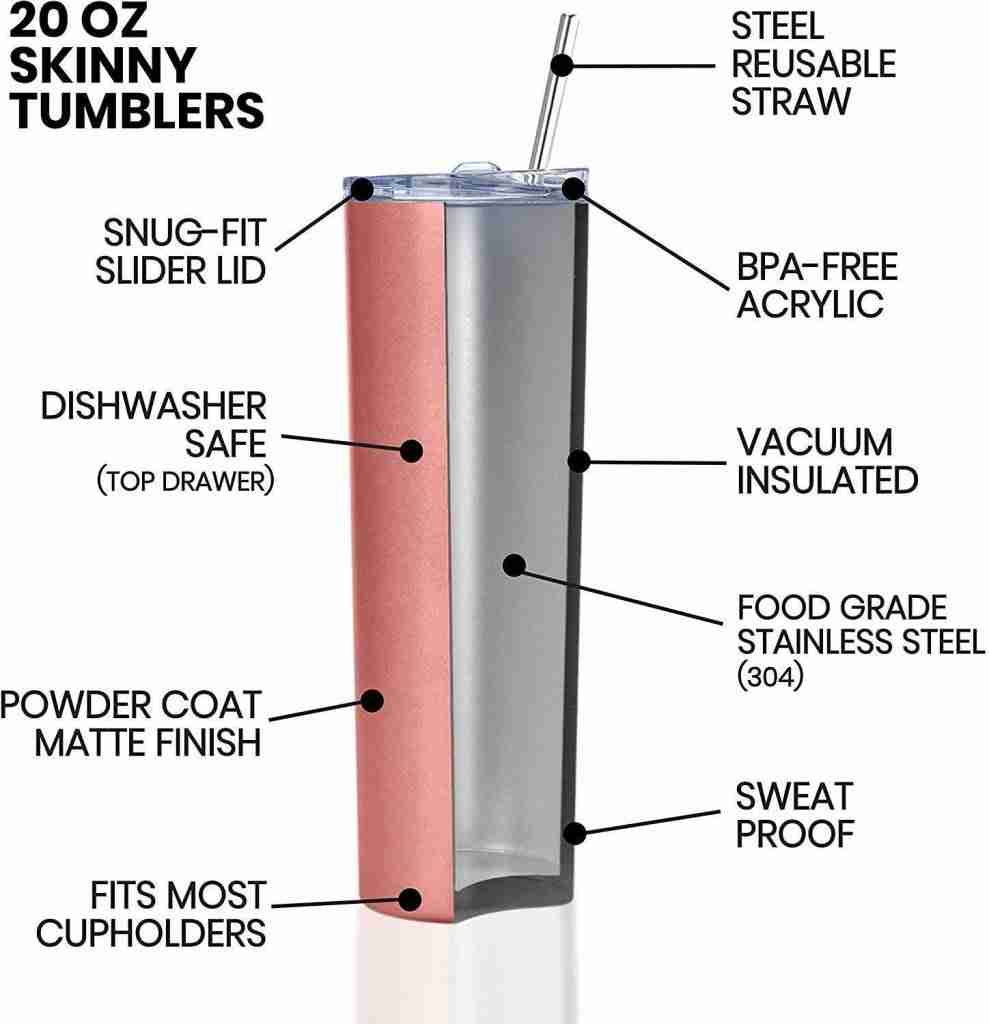 Skinny Tumblers Stainless Steel tumbler with straw Powder Coating