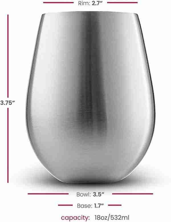 02 Stainless Steel Unbreakable Wine Glasses