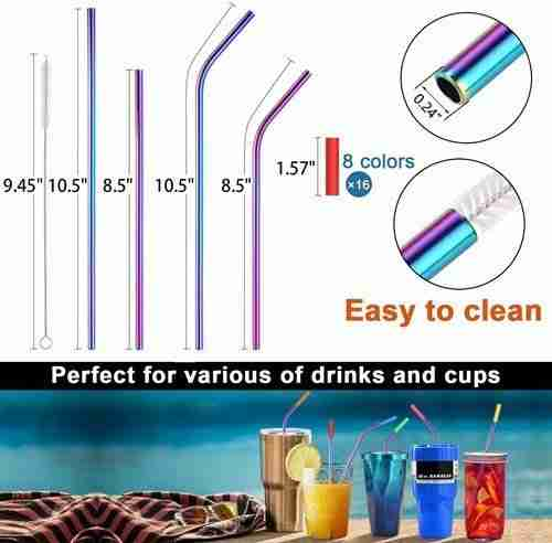 02 Metal Straws Stainless Steel Straws with Silicone Tips