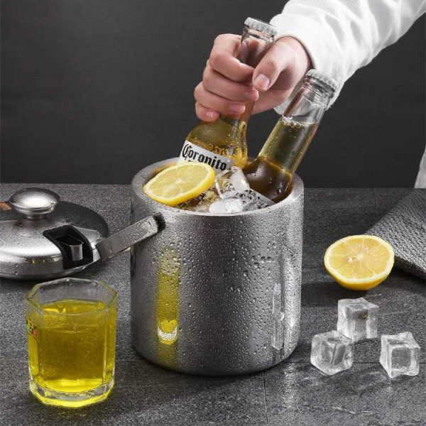 Double-Wall Stainless Steel Insulated Ice Bucket Chilling 02