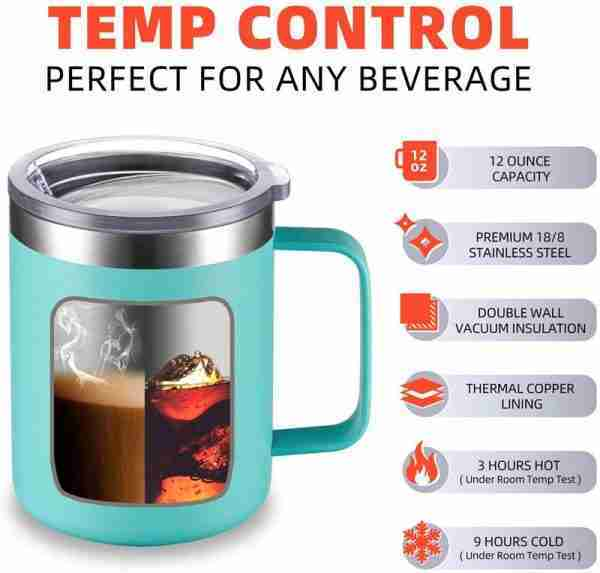 Double wall stainless steel coffee mug with handle