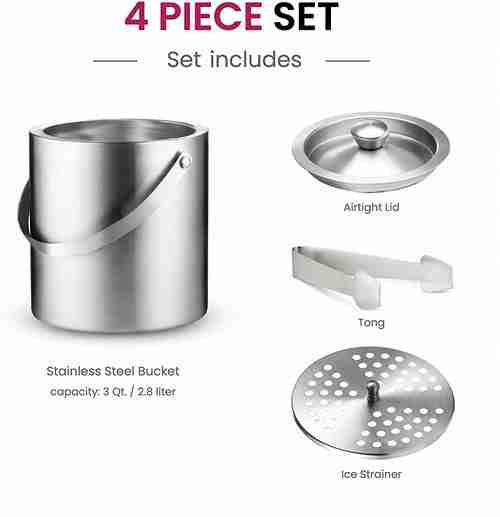 Double-Wall Stainless Steel Insulated Ice Bucket Chilling 01