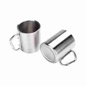 ET23-Stainless Steel Coffee Mugs with Carabiner Handles