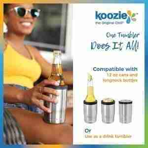 Best 3-in-1 bottle can koozie tumbler:KOOZIE tumbler, bottle, can cooler 3-in-1 stainless steel