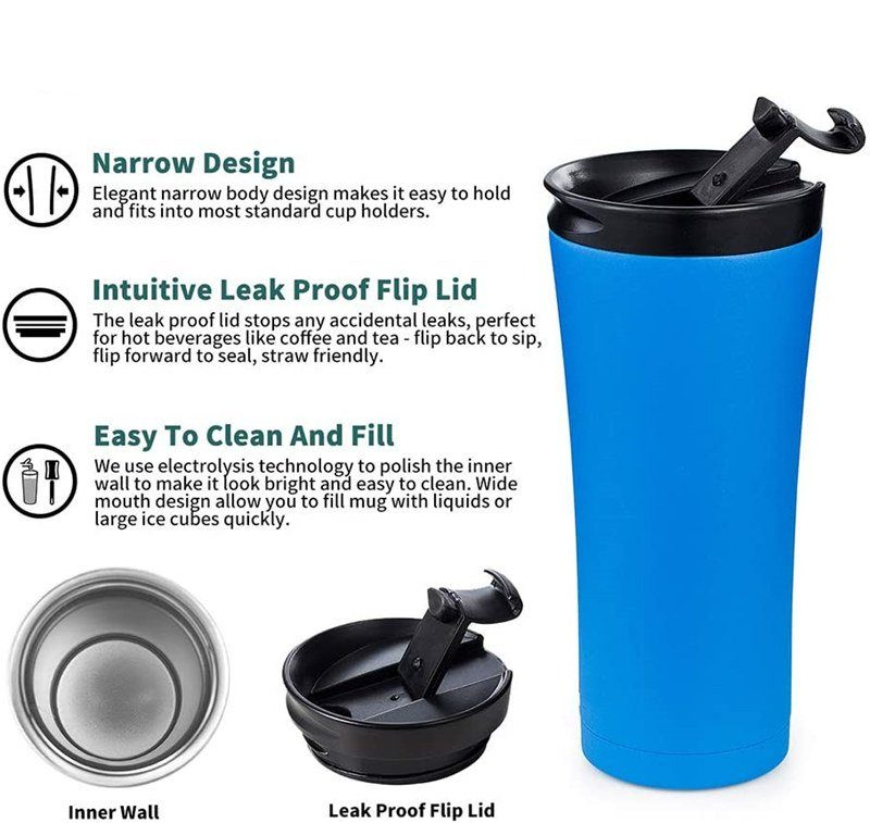 Non leaking double walls stainless steel coffee mug